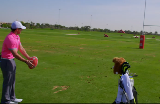 World number one Rory McIlroy steps outside his comfort zone as he lines up his drop-kick