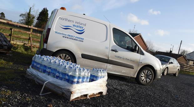 One of several water distribution points in Fermanagh. NI Water has said around 600 customers in counties Fermanagh and Tyrone are still suffering disruption to their water supply.