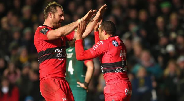Bryan mighty: Bryan Habana (right) celebrates his try against Leicester Tigers at Welford Road last month with Ali Williams