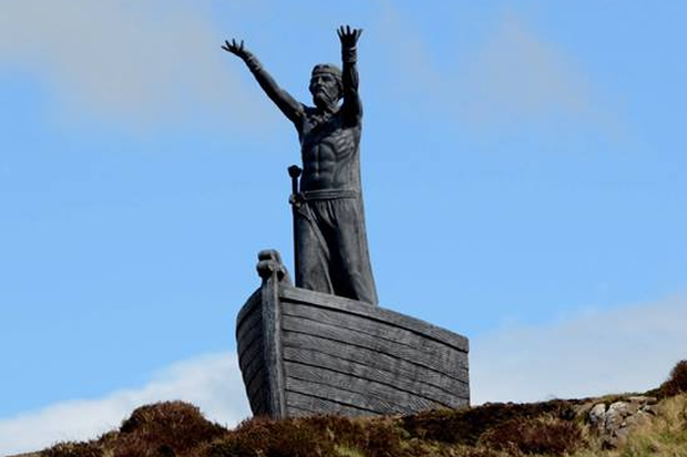 The sculpture of the Celtic god of the sea, Manannan, has been overlooking Lough Foyle since 2013