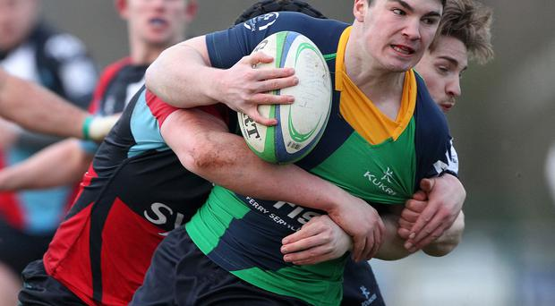 Harlequins' Matt Rainey and Ballynahinch's Josh Donaldson