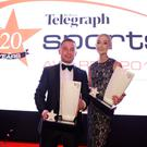 Knockout: Belfast Telegraph Sports Star of the Year Carl Frampton and Amy Uprichard, who collected joint winner Rory McIlroy's award, at last night's awards ceremony