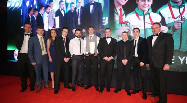 Press Eye Belfast Northern Ireland - 26th January 2014 - Picture by Kelvin Boyes / Press Eye. 2014 Belfast Telegraph Sports Awards sponsored by Linwoods at the Ramada Hotel, Belfast? Team of the Year sponsored by The Outlet NI Commonwealth Games Boxing Team Paddy Barnes, Michael Conlon, Michaela Walsh, Sean McGlinchy, Steven Donnelly, Sean Duffy, Joe Fitzpatrick and Ruairi Dalton receive their award from Chris Nelmes (Centre Manager, The Outlet) and Conor Niland (Irish Davis Cup captain).