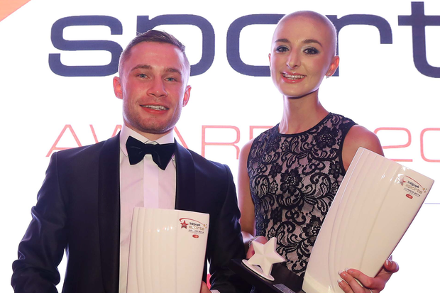 Press Eye Belfast Northern Ireland - 26th January 2014 - Picture by Kelvin Boyes / Press Eye. 2014 Belfast Telegraph Sports Awards sponsored by Linwoods at the Ramada Hotel, BelfastÊ Amy Uprichard (representing the Daisy Lodge Cancer Fund for Children Centre, supported by the Rory McIlroy Foundation) and Carl Frampton