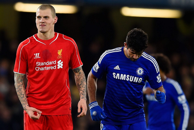 Martin Skrtel of Liverpool reacts to the crowd after he fouled Diego Costa of Chelsea during the Capital One Cup Semi-Final second leg between Chelsea and Liverpool at Stamford Bridge on January 27, 2015 in London, England. (Photo by Mike Hewitt/Getty Images)