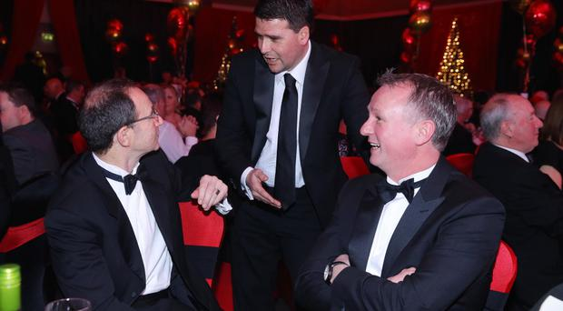 Martin O'Neill, David Healey and Michael O'Neill at the 2014 Belfast Telegraph Sports Awards sponsored by Linwoods at the Ramada Hotel, Belfast