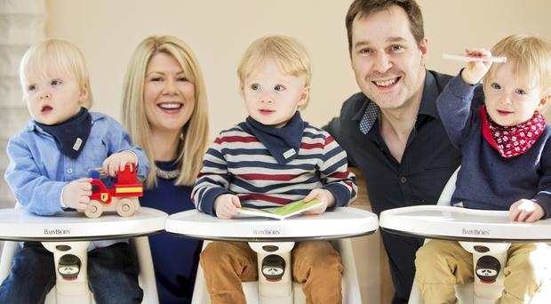 Ciara and John Kennedy with triplets (from left) Jack, Oliver and Harry