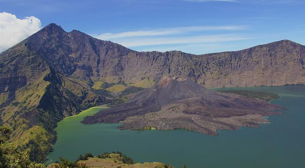 10. Mount Rinjani, Lombok, Indonesia. A couple of days of tough climbing is well-rewarded at the summit of Mount Rinjani, the second highest active volcano in Indonesia, with this spectacular view. A crater lake, affectionately known as 'Child of the Sea' by locals, sits pretty at the top of this epic climb.