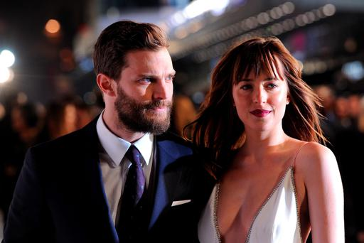 Jamie Dornan and Dakota Johnson attending the UK premiere of Fifty Shades of Grey at the Odeon Leicester Square, London.