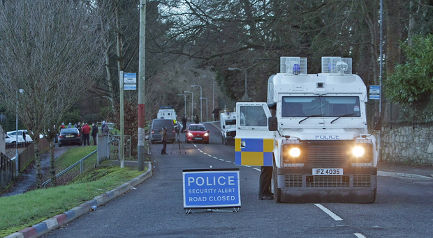 The scene at Curryneirin outside Derry where a security operation got underway following a bomb warning to a local newspaper. Picture Martin McKeown.