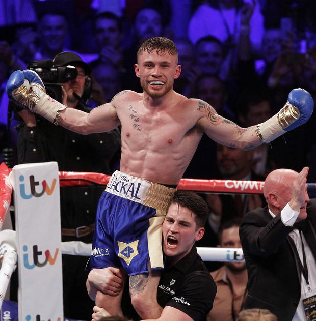A victorious Carl Frampton after defeating Chris Avalos during this evenings world title fight.Photo Aidan O'Reilly/Pacemaker Press