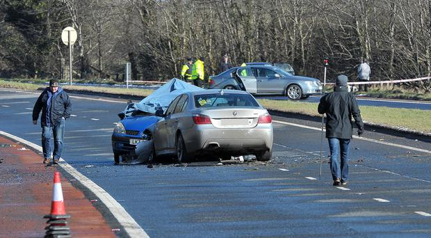 Police seal off the A1 after a serious two vehicle crash between Dromore and Banbridge. Alan Lewis PhotopressBelfast.co.uk. Pic: Justin Kernoghan