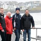 Vauxhall International North West 200 Event Director Mervyn Whyte, chats with Michael Rutter and newcomers Sam West and Craig Neve who will make their debuts at the race this year.