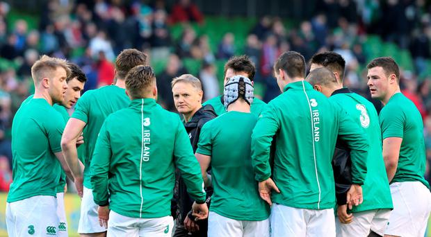 Ireland head coach Joe Schmidt with his team before the game during the 6 Nations match at Aviva Stadium, Dublin.
