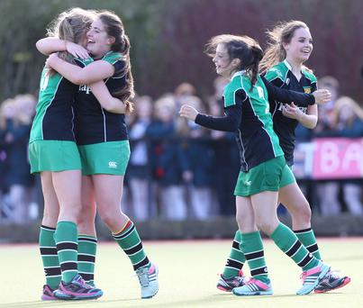 The Belfast Telegraph Senior Schools Cup Final - Sullivan Upper v Banbridge at Lisnagarvey Hockey Club. Sullivan players celebrate at the end of the game. Presseye