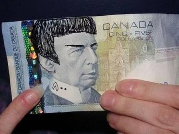 Leonard Nimoy died from chronic lung disease on Friday. Fans have been 'Spocking' five dollar bills in tribute