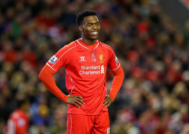 LIVERPOOL, ENGLAND - MARCH 04: Daniel Sturridge of Liverpool smiles during the Barclays Premier League match between Liverpool and Burnley at Anfield on March 4, 2015 in Liverpool, England. (Photo by Michael Steele/Getty Images)