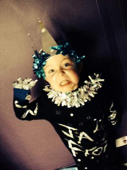 Jackson Turner aged 6 from Carrickfergus ready to enjoy world book day dressed as Jack Frost. Pic. Donna Turner 05/03/2015