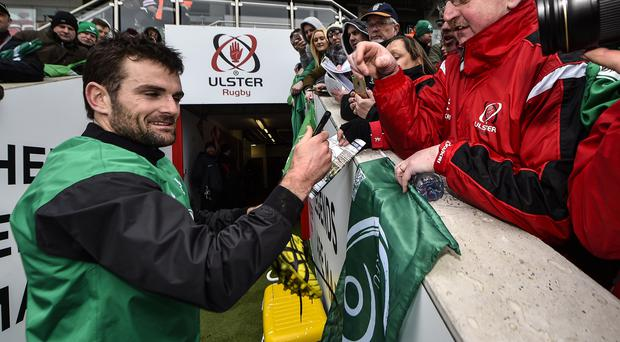 Ireland Rugby Open Training Session, Jared Payne signs autographs for fans