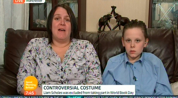 Nicola Scholes and her son Liam appear on ITV's Good Morning Britain after Liam was excluded from his school's World Book Day celebrations for wearing a Fifty Shades of Grey costume. ITV/PA Wire
