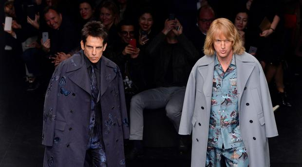 US actors Ben Stiller (L) and Owen Wilson present creations for Valentino during the 2015-2016 fall/winter ready-to-wear collection fashion show on March 10, 2015 in Paris. AFP PHOTO / MIGUEL MEDINAMIGUEL MEDINA/AFP/Getty Images