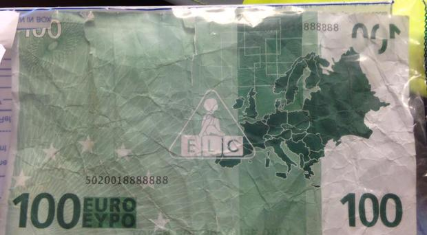 The pretend 100 Euro note. Pic PSNI Newry and Mourne Facebook page