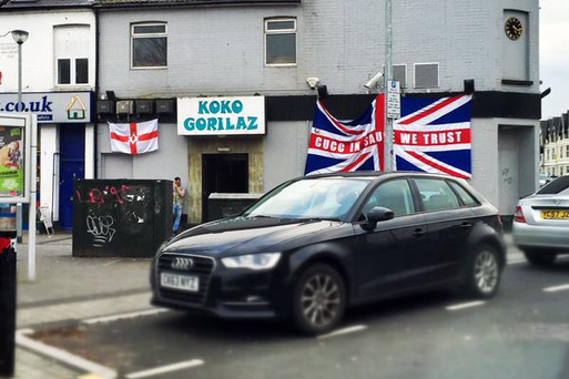 Koko Gorilaz in Wales with the flags hung outside the bar. Pic. Twitter I Loves The 'Diff @ILovesTheDiff