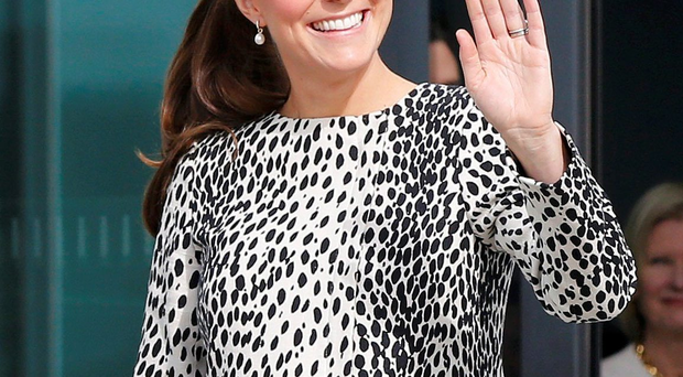 The Duchess of Cambridge waves yesterday after visiting an art gallery in Margate