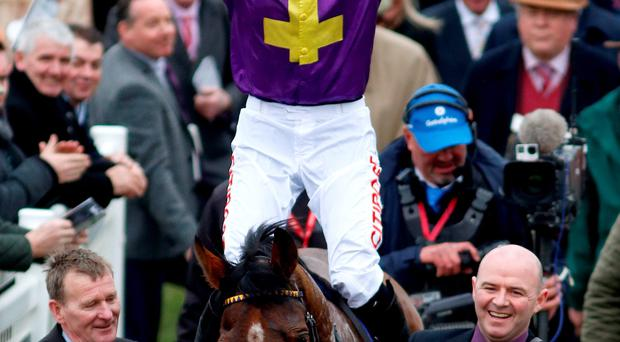 Davy Russell riding Windsor Park celebrates