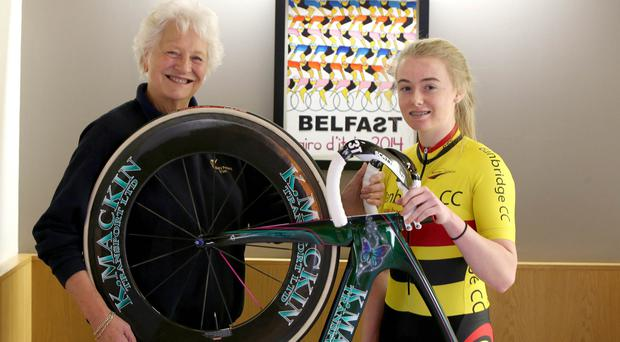 Shenna McKiverigan from Banbridge CC and Team sky pictured along with Dame Mary Peters.