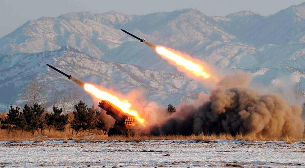 A missile-firing drill at an undisclosed location in North Korea.