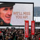 A giant screen can be seen as Tony McCoy celebrates winning the Ryanair Chase on Uxizandre, on St Patrick's Day during the Cheltenham Festival at Cheltenham Racecourse. PRESS ASSOCIATION Photo. Picture date: Thursday March 12, 2015. See PA story RACING Cheltenham. Picture credit should read: Nick Potts/PA Wire. RESTRICTIONS: Editorial Use only, commercial use is subject to prior permission from The Jockey Club/Cheltenham Racecourse. Call +44 (0)1158 447447 for further information.