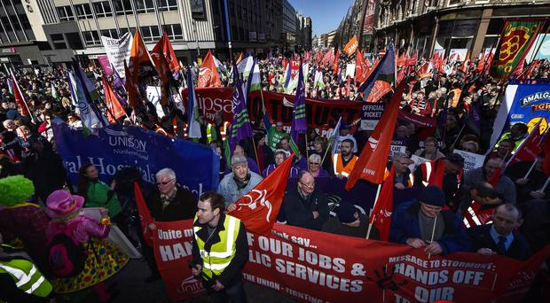 ?Russell Pritchard 13th March 2015 Public services in Northern Irelands are being disrupted by a strike by some public sector trade unions. The strike is affecting education, public transport and administration. The Department of Health has said arrangements have been put in place to ensure