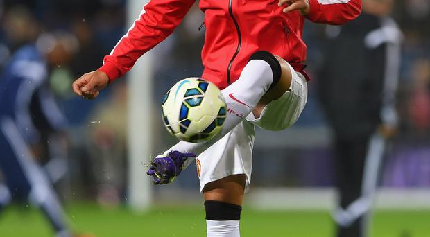 WEST BROMWICH, ENGLAND - OCTOBER 20: Radamel Falcao of Manchester United warms up prior to the Barclays Premier League match between West Bromwich Albion and Manchester United at The Hawthorns on October 20, 2014 in West Bromwich, England. (Photo by Michael Regan/Getty Images)