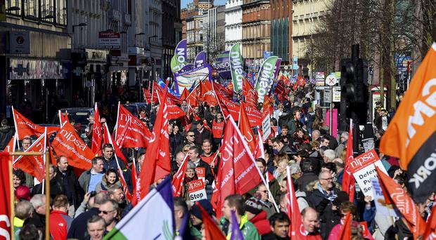 Angry: Protesters on way to City Hall, Belfast