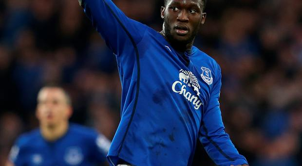 Romelu Lukaku of Everton celebrates scoring their second goal