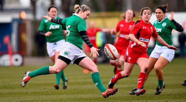 Ireland fullback Niamh Briggs clears her lines during the RBS Six Nations Womens match between Wales and Ireland