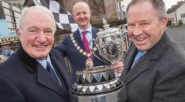 Five times winner of the Circuit of Ireland Rally Paddy Hopkirk launches the Ards TT Stage of the 2015 Discover Northern Ireland Circuit of Ireland Rally alongside Mayor of Ards, Cllr Philip Smith and Circuit Event Director Bobby Willis