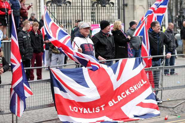 Loyalist protesters at Belfast City Hall after the St Patrick's Day Carnival parade in Belfast city centre. Picture by Press Eye