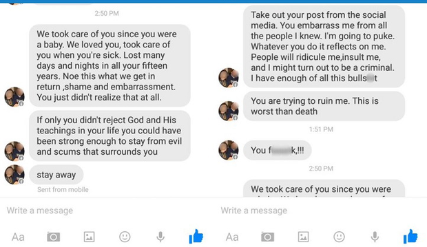 Some of the messages sent to Tyler from his father