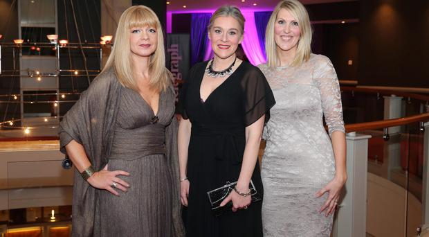 Press Eye - Belfast - Northern Ireland - 19th March 2015 - Picture by Kelvin Boyes / Press Eye. 2015 Belfast Telegraph Woman of the Year Awards in Association with THE OUTLET, Banbridge Sasha McKnight, Vicki Caddy and Victoria Clarke
