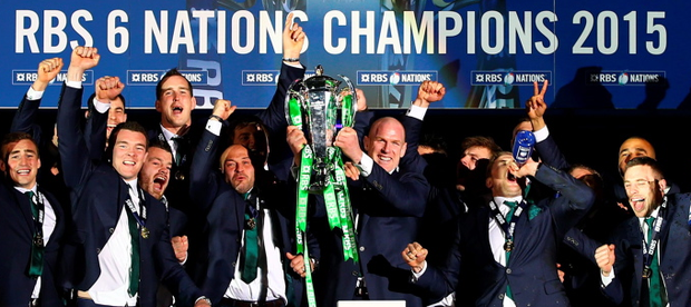 Ireland lift the Six Nations trophy after the RBS Six Nations match between Scotland and Ireland at Murrayfield on March 21, 2015 in Edinburgh, Scotland. (Photo by Richard Heathcote/Getty)
