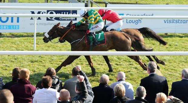 ?Press Eye Ltd - Northern Ireland - 22nd March 2015. Mandatory Credit - Photo by Andrew Paton/Presseye.com. Downpatrick Racing at Downpatrick Racecourse. TOALS BOOKMAKERS ULSTER GRAND NATIONAL EUROPEAN BREEDERS FUND HANDICAP CHASE. Riverside City ridden by Davy Condon wins the race