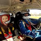 Ali Gordon takes a spin in Stephen Wrights rally car at the Circuit of Ireland International Rally press day.