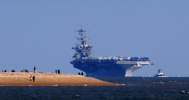 USS Theodore Roosevelt arrives in UK waters where it will anchor off Stokes Bay, Gosport, Hampshire