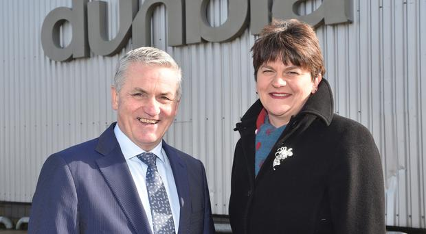 Enterprise Minister Arlene Foster is pictured with Jim Dobson, managing director of Dunbia Group. Pic by Simon Graham/Harrison Photography