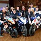 PACEMAKER, BELFAST, 24/3/2015: Stars of the 2015 Vauxhall International North West 200 pictured with Event Director Mervyn Whyte at the race launch in Titanic, Belfast. (L-R) Jeremy McWilliams, Ryan Farquhar, John McGuinness, Lee Johnston, Maria Costello, Dean Harrison, Michael Rutter, Peter Hickman, Alastair Seeley and William Dunlop. PICTURE BY STEPHEN DAVISON
