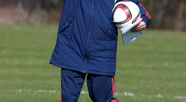Scotland manager Gordon Strachan during the training session at Mar Hall, Bishopton. PRESS ASSOCIATION Photo. Picture date: Tuesday March 24, 2015. See PA story SOCCER Scotland. Photo credit should read: Danny Lawson/PA Wire. RESTRICTIONS: Use subject to restrictions. Editorial use only. Commercial use only with prior written consent of the Scottish FA. Call +44 (0)1158 447447 for further information.