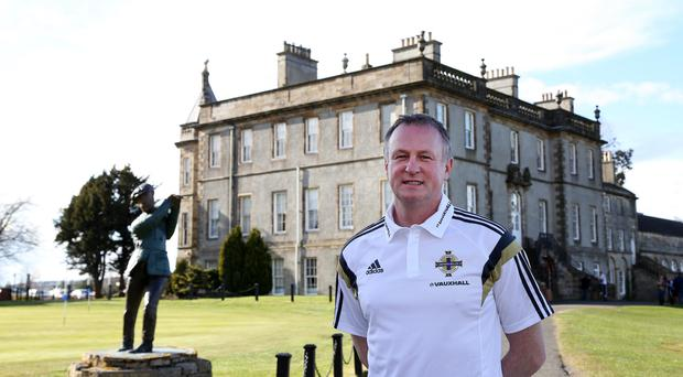 24 March 2015 - Picture by Darren Kidd / Press Eye VAUXHALL INTERNATIONAL CHALLENGE MATCH SCOTLAND v NORTHERN IRELAND. Northern Ireland manager Michael O'Neill during a press conference at the team hotel in Edinburgh.