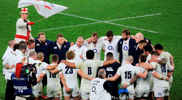 Better luck next time: The England team huddle at the end of the RBS Six Nations match between England and France at Twickenham on Saturday